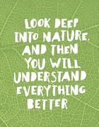 """Stock Illustration of Earth day quotes inspirational. """"Look deep into nature, and then you will und"""