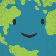 Earth face closeup. Earth day concept image Stock Illustration