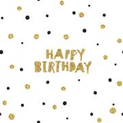 Happy Birthday on Black Background with White and Golden Chaotic Dots.Vector  - stock illustration