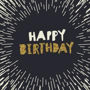 Happy Birthday. Gold glittering design on black backgrounds Stock Illustration