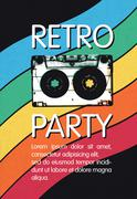 Retro music party poster design. Disco music vintage party invitation templat - stock illustration