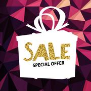 Sale banner on Low Poly Bright Pink Background. Sale template. Big sale. Supe Stock Illustration