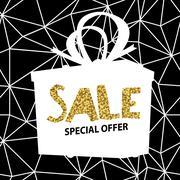 Sale banner on Low Poly Black Background. Sale template. Big sale. Super Sale Stock Illustration