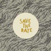 Hand drawn Save the Date card. Gold foil letters effect. Stock Illustration