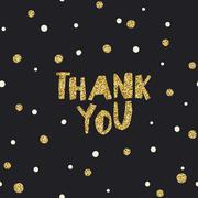 Thank you card. White and Golden Chaotic Dots. Stock Illustration