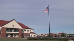 FORT BRAGG USA, March 2016, Headquater Of Sustainment Command Fort Brag US Flag - stock footage