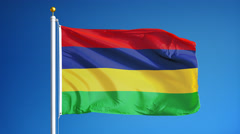 Mauritius flag in slow motion seamlessly looped with alpha Stock Footage