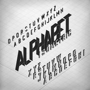 Black Isometric Alphabet. On monochrome grid background. Two weights - bold a Stock Illustration