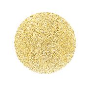 Circle with gold glitter particles on white background. Golden foil effect. Stock Illustration