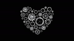 Metal heart from tech gears video animation - stock footage