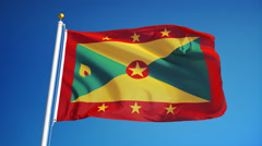 Grenada flag in slow motion seamlessly looped with alpha Stock Footage