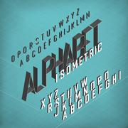 Isometric Alphabet. Blueprint abstract background. Two weights - bold and thi Stock Illustration