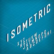 Isometric Alphabet. On blueprint abstract background. Two weights - bold and  Stock Illustration