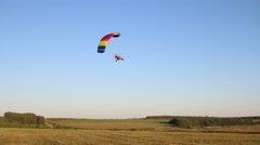 Powered parachute flying in the air, motorised parachute, paraplane Stock Footage