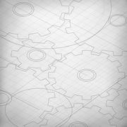 Blueprint of cogwheels. Engineer and architect background. Technology abstrac Stock Illustration