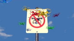 """UAV drones reacting to a """"no Drone Zone"""" graphic sign, 3D animation - stock footage"""