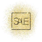 """Sale"" Gold Glittering Card Stock Illustration"