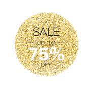 Sale tag template. Circle with gold glitter particles on white background. Go Stock Illustration