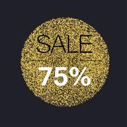 Sale tag template. Circle with gold glitter particles on black background. Go - stock illustration