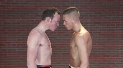 kickboxing fighters head to head stare looking mad 4K Ultra HD - stock footage