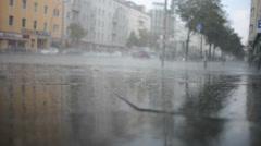 Raining on The Street - stock footage