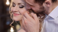 Beatiful bride and groom in the stylish interior. Serenity - stock footage