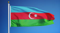Azerbaijan flag in slow motion seamlessly looped with alpha - stock footage