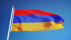 Armenia flag in slow motion seamlessly looped with alpha - stock footage