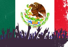 Mexico Flag with Audience - stock illustration