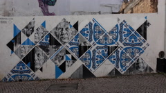4k Graffity in historic city center small streets Lagos Portugal Stock Footage