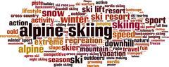 Alpine skiing word cloud Stock Illustration