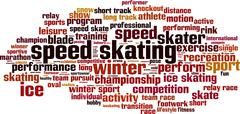 Speed skating skiing word cloud - stock illustration