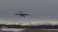 ALASKA USA, MARCH 2016, C-17 Aircraft Touch And Go Stock Footage