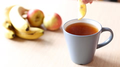 Preparing black tea with lemon beautiful shot with soft focus Stock Footage