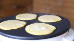 Making Pumpkin Pancakes on Frying Pan. Homemade Griddle Cakes. HD, 1920x1080. Stock Footage
