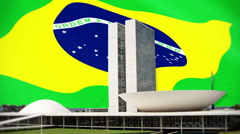 Brazilian National Congress Over Flag Motion Background Stock Footage