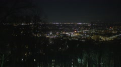 Pan of Bethlehem, Pennsylvania from overlook, night - 4K Stock Footage