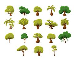 Tropical Trees Collection Stock Illustration