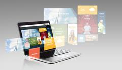 Laptop with internet applications on screen Stock Photos