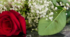 Bouquet of flowers with a beautiful red rose 4k - stock footage