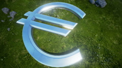 Euro Sign On Green Field 4 - stock footage