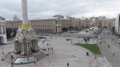 Independence Square, Khreshchatyk Kiev center Ukraine Stock Footage