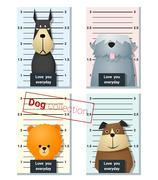Mugshot of  cute dogs holding a banner - stock illustration