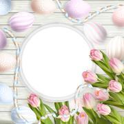 Blank picture frame on white. EPS 10 - stock illustration