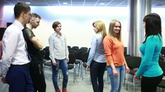 Team building, group discussion or therapy. people perform an exercise Stock Footage