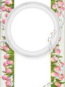 Stock Illustration of Tulips and blank white frame. EPS 10