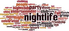 Nightlife word cloud - stock illustration