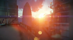 London beautiful sunset over Swiss Reinsurance Headquarters, The Gherkin - stock footage