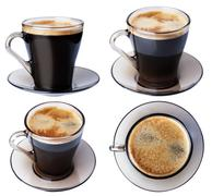 Espresso coffee in a glass dish, isolate on a white background, closeup. Stock Photos