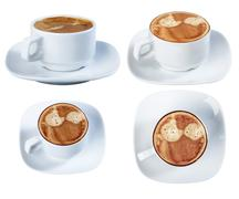 Espresso coffee in a ceramic dish, isolate on a white background, close-up. Stock Photos